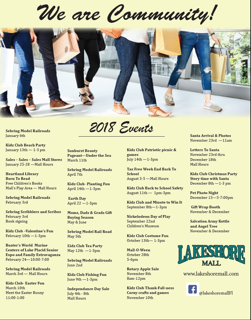 Lakeshore Mall 2018 events